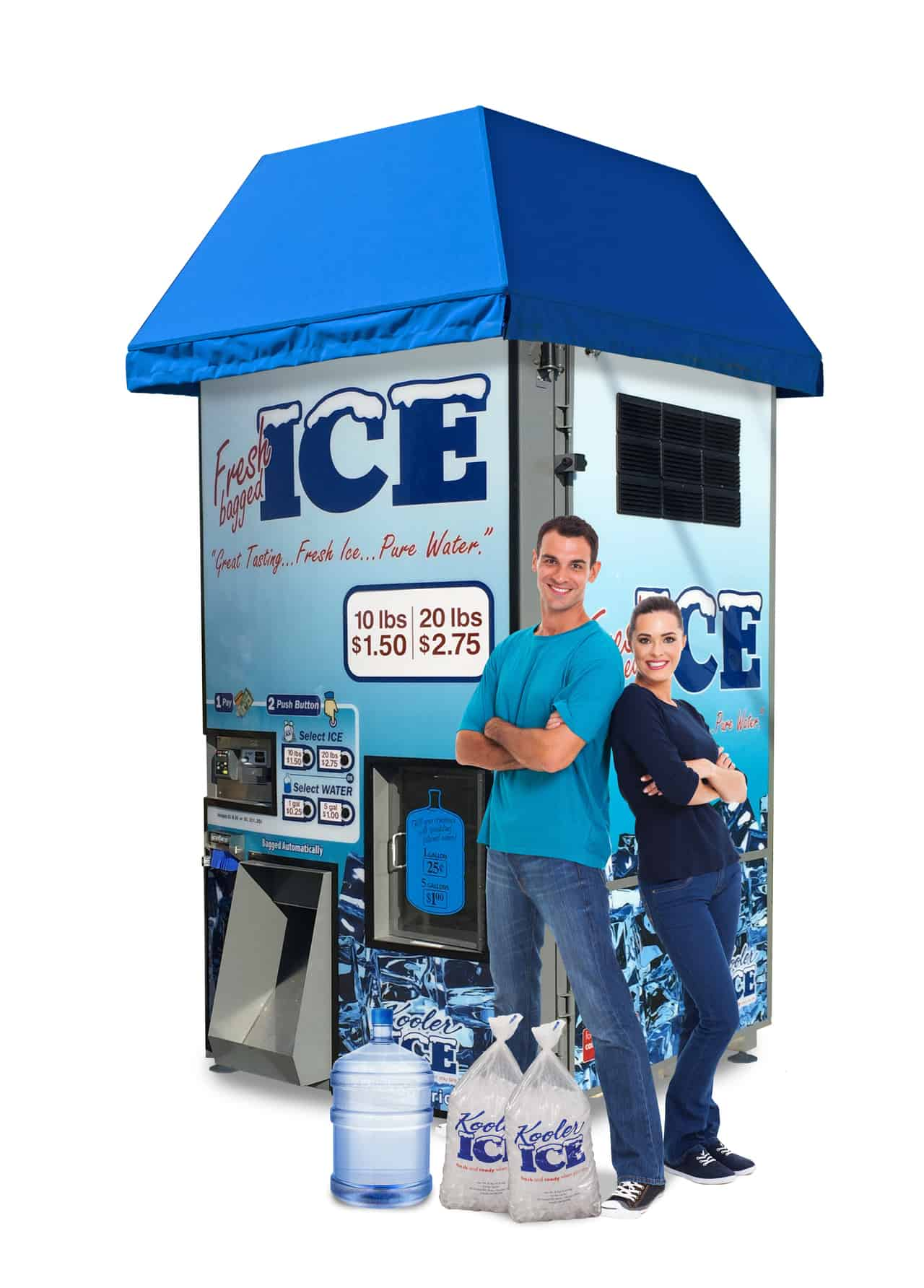 IM1000 Ice and Water Vending Machine with Young Couple